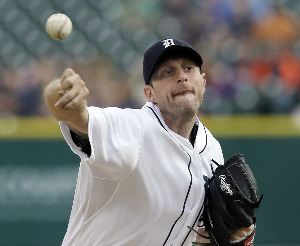 Winner of the 2013 American League Cy Young Award and Detroit Tigers starting pitcher Max Scherzer delivers a pitch last summer.  The Associated Press