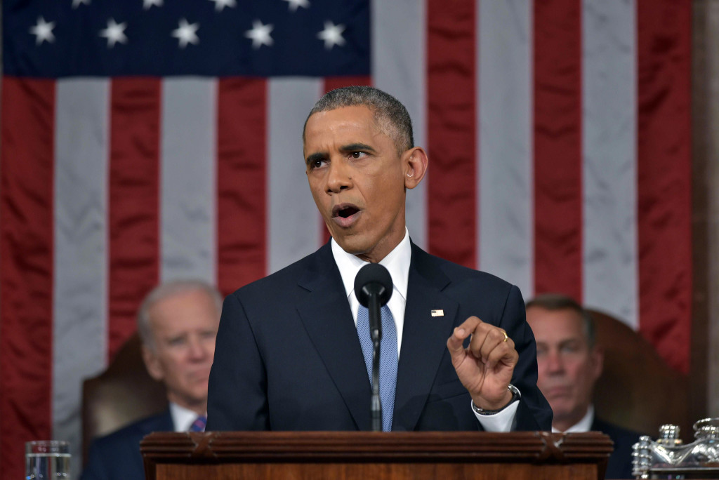 President Obama, addressing a Republican-controlled Congress for the first time in his presidency, challenged Republican economic ideology by calling for a higher capital gains rate on couples earning more than $500,000 annually.