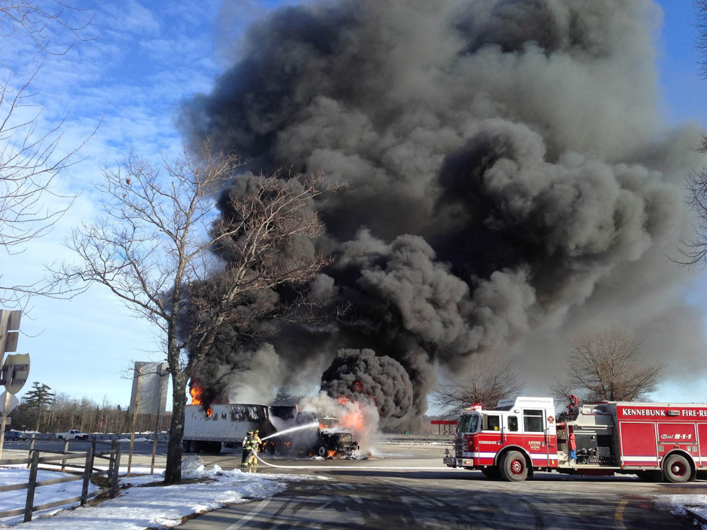 A truck fire Friday at the mile 25 rest area on the Maine Turnpike caused delays for commuters at the service station. Charlie Gaylord photo