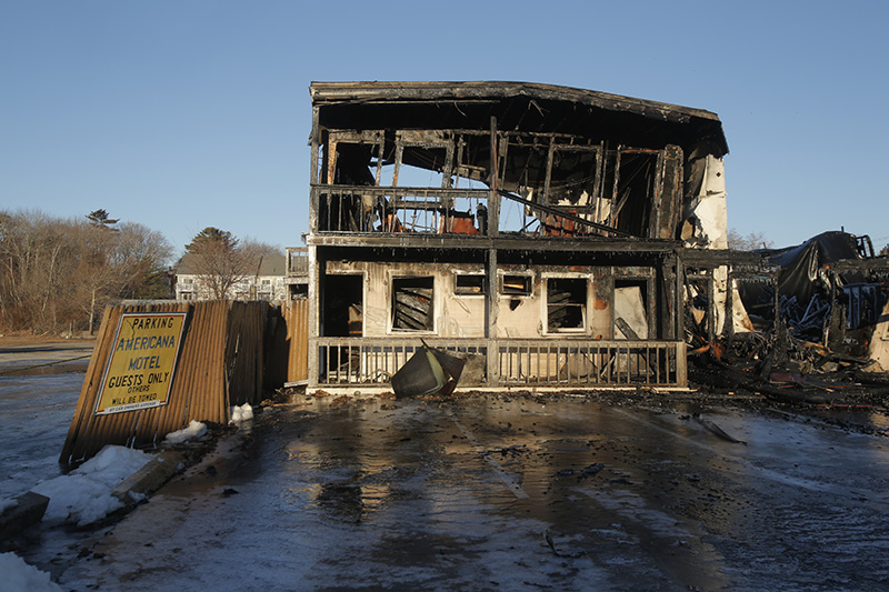 The ruins of the Americana Motel in Old Orchard Beach  Wednesday morning.