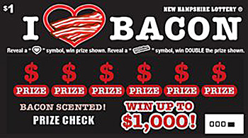 """To promote the ticket, the New Hampshire Lottery will be driving a """"bacon truck,"""" handing out free smoked bacon samples and lottery tickets."""
