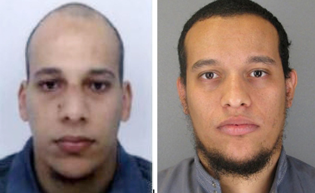 Police have surrounded suspects Cherif, left, and Said Kouachi  in a printing house northeast of Paris.