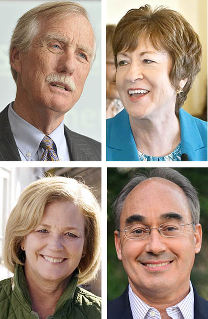Top: Maine's U.S. Sens. Angus King, an independent, and Susan Collins, a Republican. Bottom: Maine's U.S. Reps. Chellie Pingree, D-1st District, and Bruce Poliquin, R-2nd District