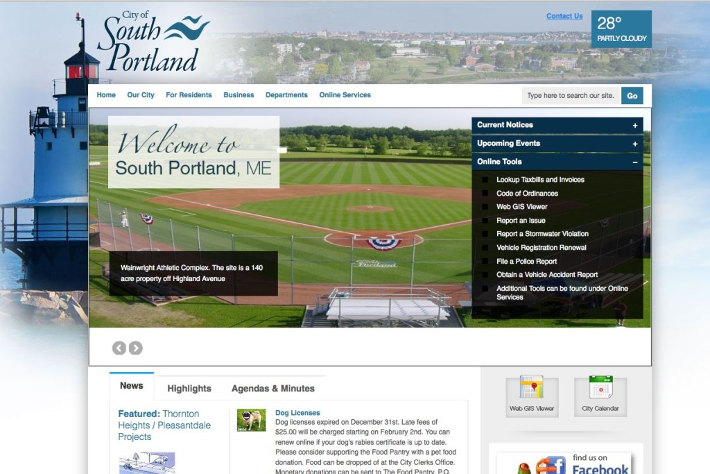Several South Portland departments are active on social media, including police, economic development, park and recreation. This is a detail of the city website homepage.