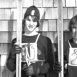 An unpublished photo from 1973's Maine Interscholastic Ski Championships by staff photographer Peter Darling. Because the photo was unused in print, the two skiers are unidentified.