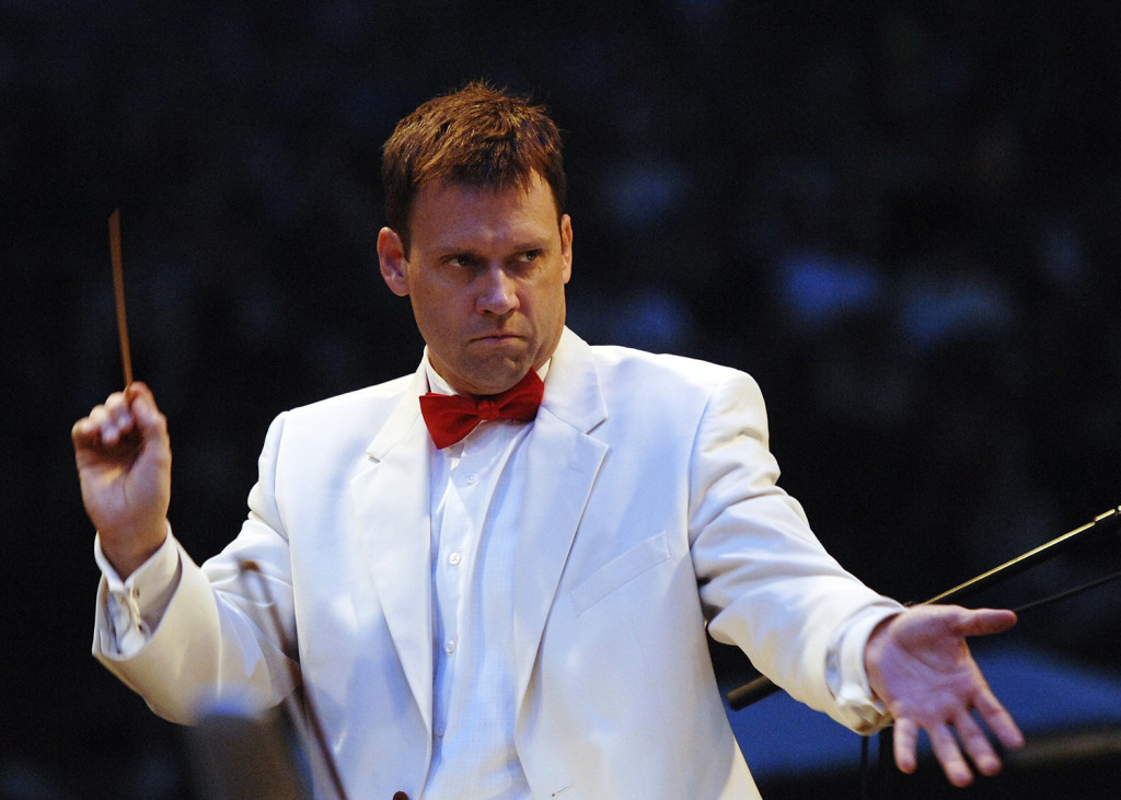 Robert Moody, seen conducting the Portland Symphony Orchestra in February 2015, will complete his 10th season before conducting his final concert with the PSO on May 11, 2018.