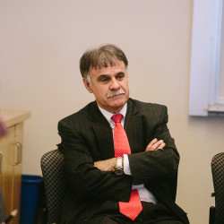 """Jose """"Zito"""" Sartarelli, one of three finalists to be president of USM, speaks with students and others Thursday at the Abromson Center on USM's Portland campus. At USM, """"activity in fundraising has been minimal or nonexistent,"""" he said. """"That's crazy. Why aren't we doing that?"""""""