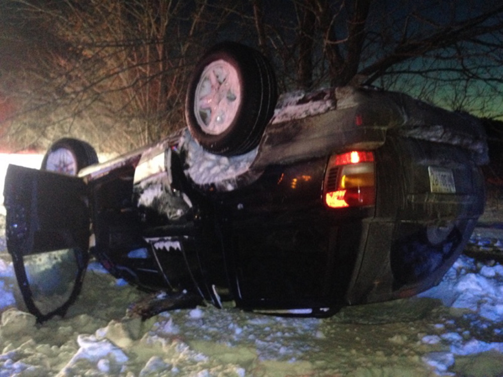 Waterville Deputy Police Chief Charles Rumsey said that before the accident, the Jeep had been traveling north toward Waterville on West River Road. It came to rest facing southward. Contributed photo