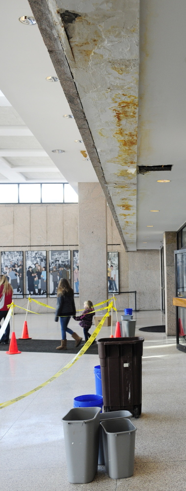 A closer look at damage caused by water leaking from the ceiling at the Maine State Cultural Building in Augusta, which houses the state library, museum and archives.