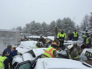 Emergency crews work to free victims of a pileup on I-95 between Newport and Bangor.
