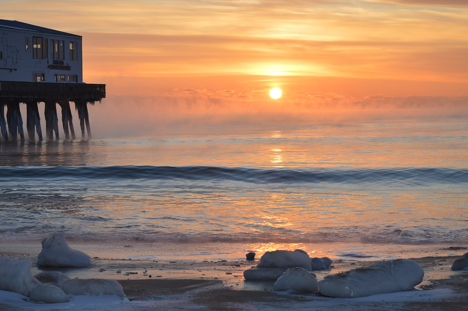 The sun's rising a little earlier each day at Old Orchard Beach, but swimming's still months away. By Amy Taylor, who teaches at Blue Point School.