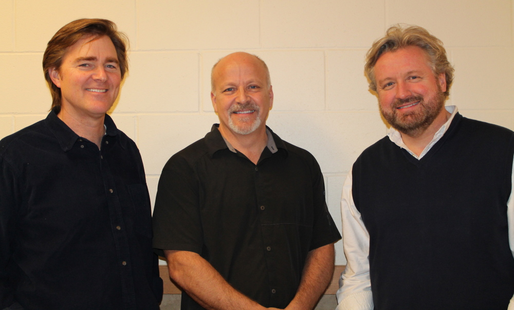 Dan Merrill, left, David Good and Don Campbell shared their talents with an audience at Westbrook Performing Arts Center to benefit My Place Teen Center.