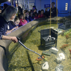 Patte Dunn of the Mystic Aquarium assists children as they operate a claw to pick up trash to deposit into a designated container as part of the new interactive Covanta Cove exhibit at the aquarium in Mystic, Conn. The exhibit is designed to educate visitors about how discarded marine debris can be turned into clean energy.