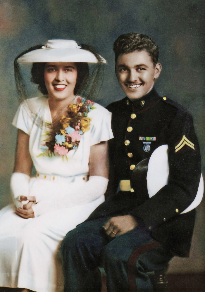 Dorothy Rae Guay and Lucien D. Guay pose for a wedding picture July 7, 1945. Lou was home on leave, and asked her to marry him before he was shipped out the next week.