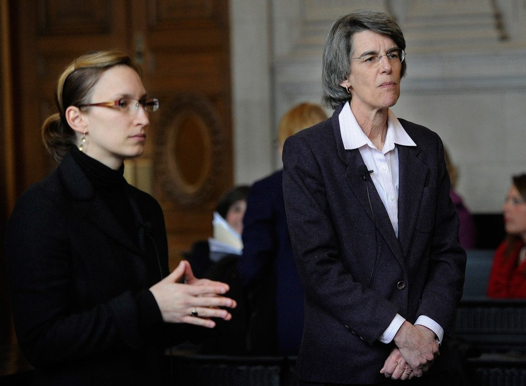 Attorney Holly Lusk, left, argued on behalf of Gov. Paul LePage and attorney Phyllis Gardiner represented Attorney General Janet Mills before the Maine Supreme Judicial Court on Thursday.