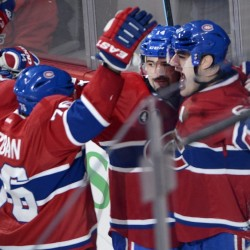 Canadiens left wing Max Pacioretty, right, celebrates with teammates P.K. Subban, left, and Tomas Plekanec after scoring in overtime to lift host Montreal to a 1-0 win over the Capitals. It was Pacioretty's second straight game with a winning goal.