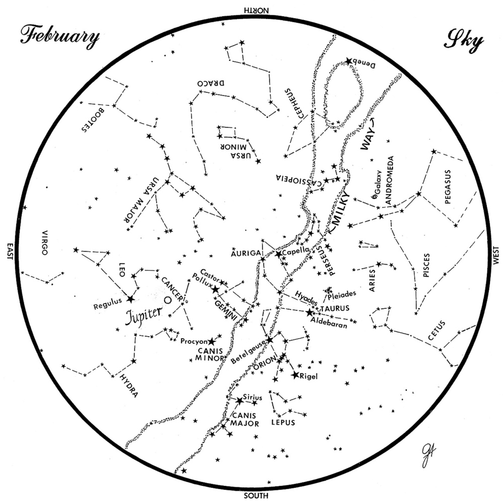 SKY GUIDE:  This chart represents the sky as it appears over Maine during February.  The stars are shown as they appear at 9:30  p.m. early in the month, at 8:30 p.m. at midmonth and at 7:30 p.m. at month's end.  Jupiter is shown in its midmonth position.  To use the map, hold it vertically and turn it so that the direction you are facing is at the bottom.
