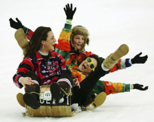 In this February 2009 file photo toboggan racing contestants enjoy their ride in the National Toboggan Championships in Camden. The U.S. National Toboggan Championships will take place next weekend at Camden Snow Bowl.