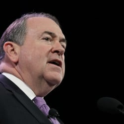 Former Arkansas Gov. Mike Huckabee says gay marriage is akin to alcohol and profanity – options the Republican weighing a 2016 presidential bid says are appealing to others, but not to him.