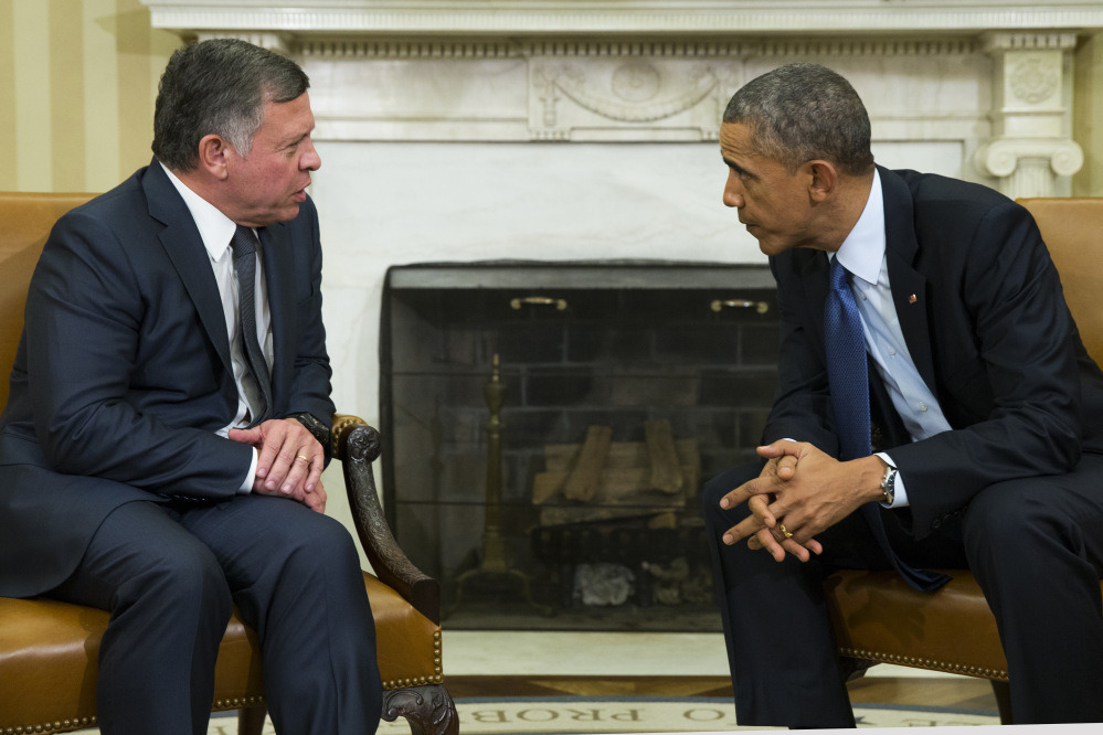 President Obama meets Tuesday with  King Abdullah II of Jordan. Abdullah was in Washington to discuss a new aid deal with the United States but cut short his visit after learning of the killing of Jordanian Air Force pilot Moaz al-Kasasbeh.