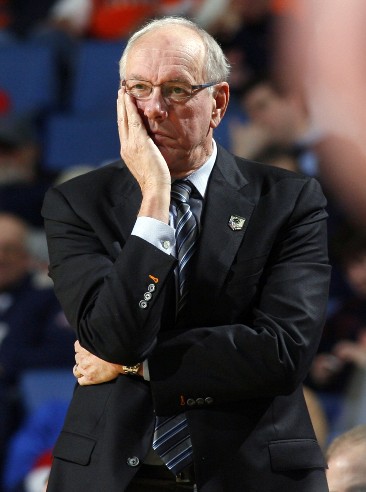 Syracuse basketball coach Jim Boeheim said he supports the university's decision to institute a self-imposed postseason ban for the men's basketball season as part of its case pending before the NCAA Committee on Infractions.