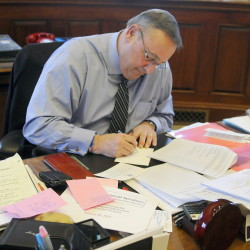 """More than a dozen Republican governors are seeking to reduce income tax rates and pay for the change by raising other taxes or generating other revenue, and many are framing their proposals with versions of the """"path to prosperity"""" language that Maine Gov. Paul LePage worked into Tuesday's State of the State address while drafting it Monday, above."""
