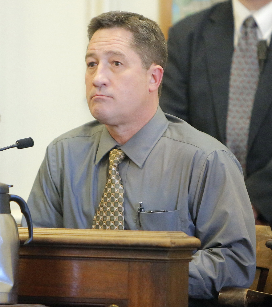 Kevin Cady, former deputy police chief in Eliot, takes the stand at York County Superior Court on Thursday. Cady said the department's protocols required the chief to write a letter to each officer accused of lying in reports before Cady could launch an internal affairs investigation.