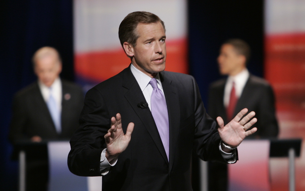 NBC News anchor Brian Williams talks to the crowd at the Democratic presidential primary debate hosted by South Carolina State University in Orangeburg, S.C., in 2007. Williams found his credibility seriously questioned over an Iraq war story Thursday.