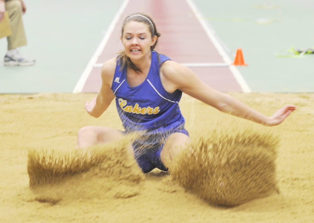 Kate Hall of Lake Region High, seen competing in the Western Maine Conference championships, has led the nation in the long jump all winter – including a winning jump of 20 feet 6 inches at the New England championships.