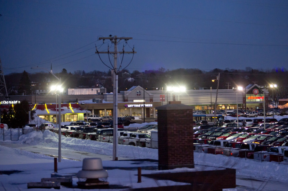 The Shaw's Millcreek Plaza, in background, which is across Waterman Drive from the Yankee Ford dealership, would be transformed into an area with taller buildings and through streets under the Mill Creek Master Plan developed by a South Portland city committee.