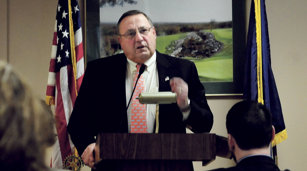 Gov. Paul LePage speaks to members of the Waterville Rotary Club on Monday about his plans to change the state tax system.