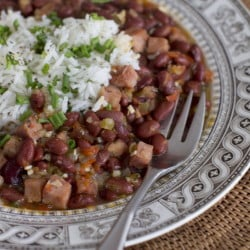 Red beans and rice with cubed ham, vegetables and spices are packed with nutrition and flavors.