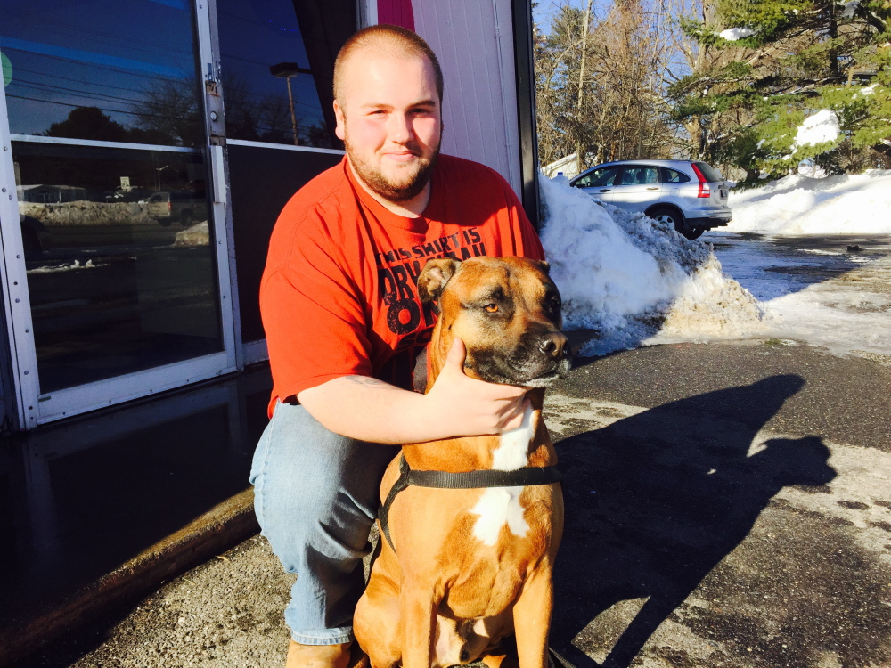 Justin Ireland, who was working at Holly's Gas when a man tried to rob the station, got some assistance from Thor, his pit bull-boxer mix.