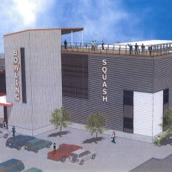 A rendering shows the planned addition to Bayside Bowl, with the existing red-brick building at left. The addition would include more bowling lanes, a rooftop lounge, event space and a DJ platform.