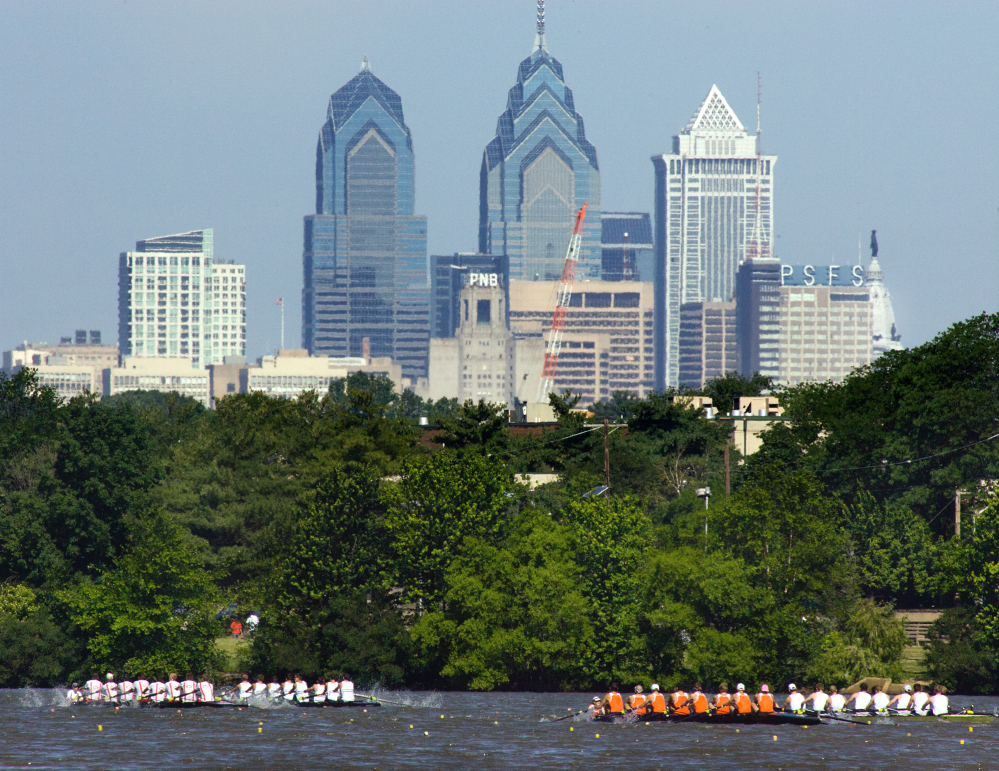 In this 2011 photo, the skyline of Philadelphia is seen from Camden, N.J. Democrats have picked Philadelphia as the site of their 2016 national convention. It's a patriotic backdrop for the nomination of the party's next presidential candidate. The Democratic National Committee says the convention will be held the week of July 25, 2016.