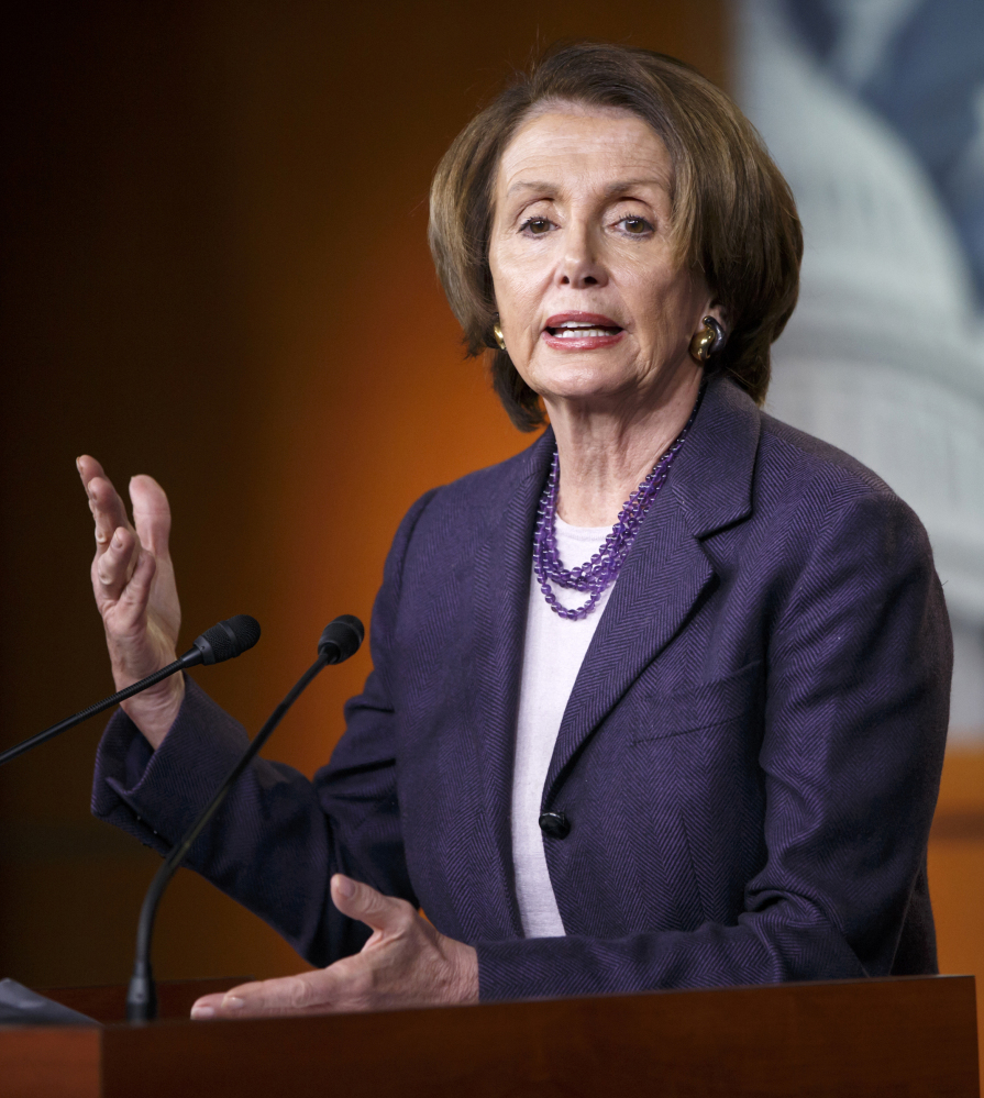 House Minority Leader Nancy Pelosi commends President Obama for proposing to limit his power while seeking to defeat terrorism.