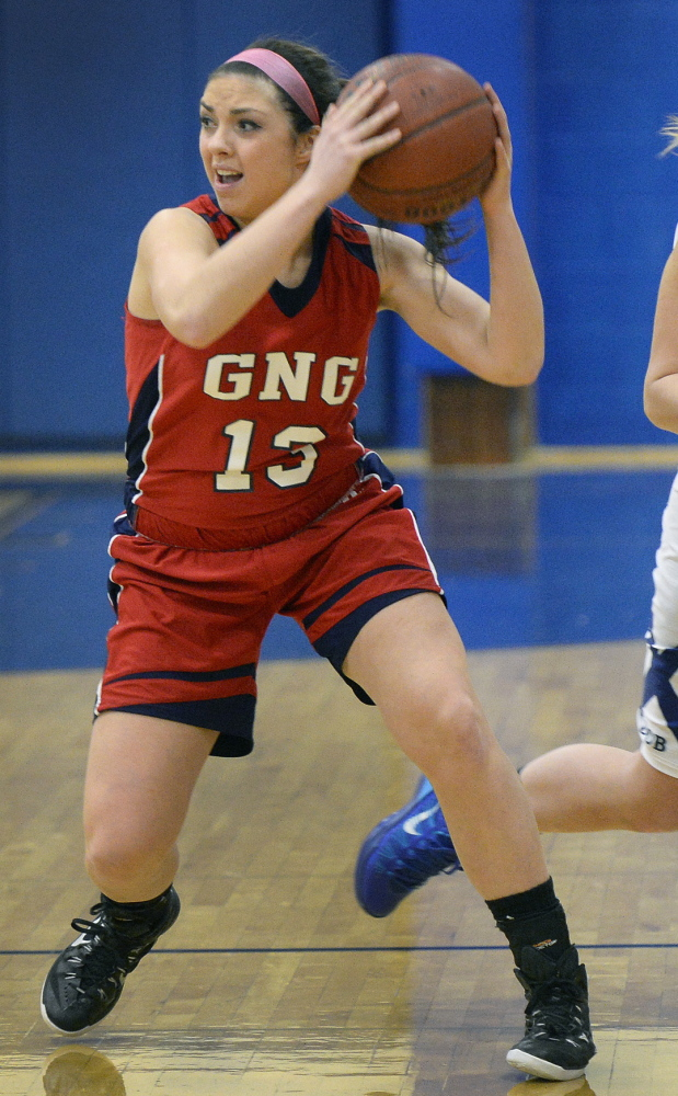Gray-New Gloucester sophomore Alicia Dumont is one of a number of players who stepped up when senior Zoe Adams suffered a knee injury in January. The Patriots play Poland on Tuesday at 3:30 p.m. in the Western B quarterfinals.
