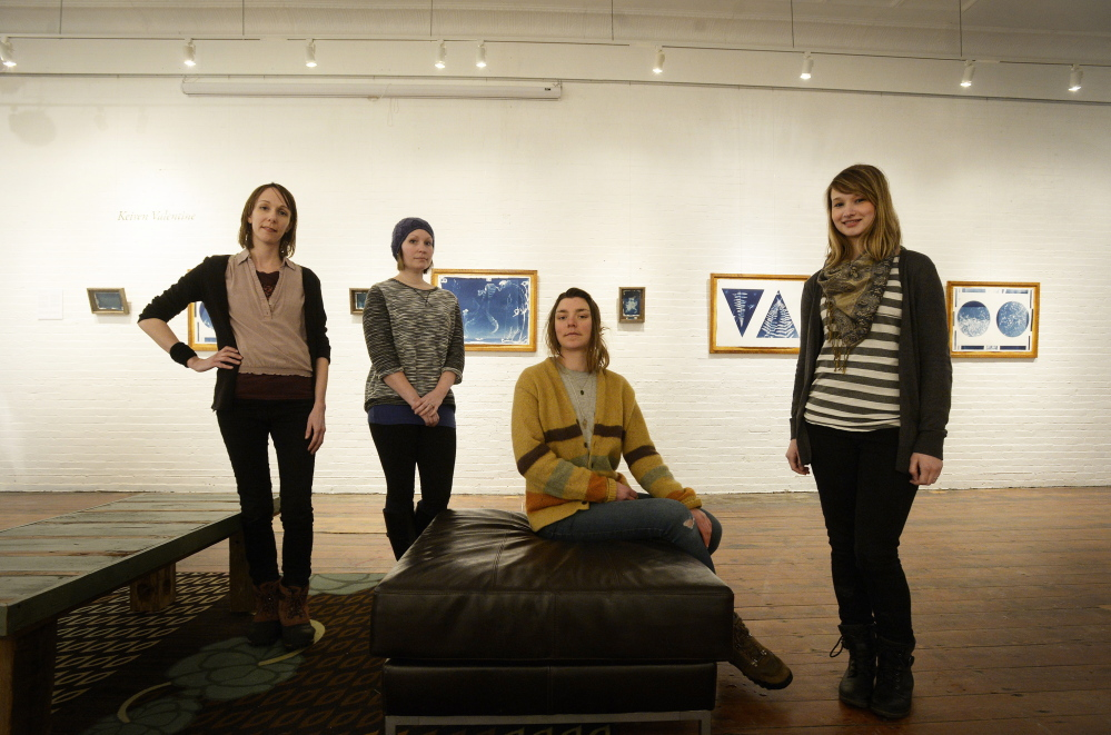 The artists of Autus: from left, Sarah Baldwin, Julie Gray, Keiren Valentine and Tina Guay at Engine in Biddeford.