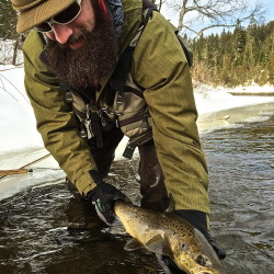 Chris Bard watches his step as he enters the Fish River on a cold January day and releases the salmon he had just caught.