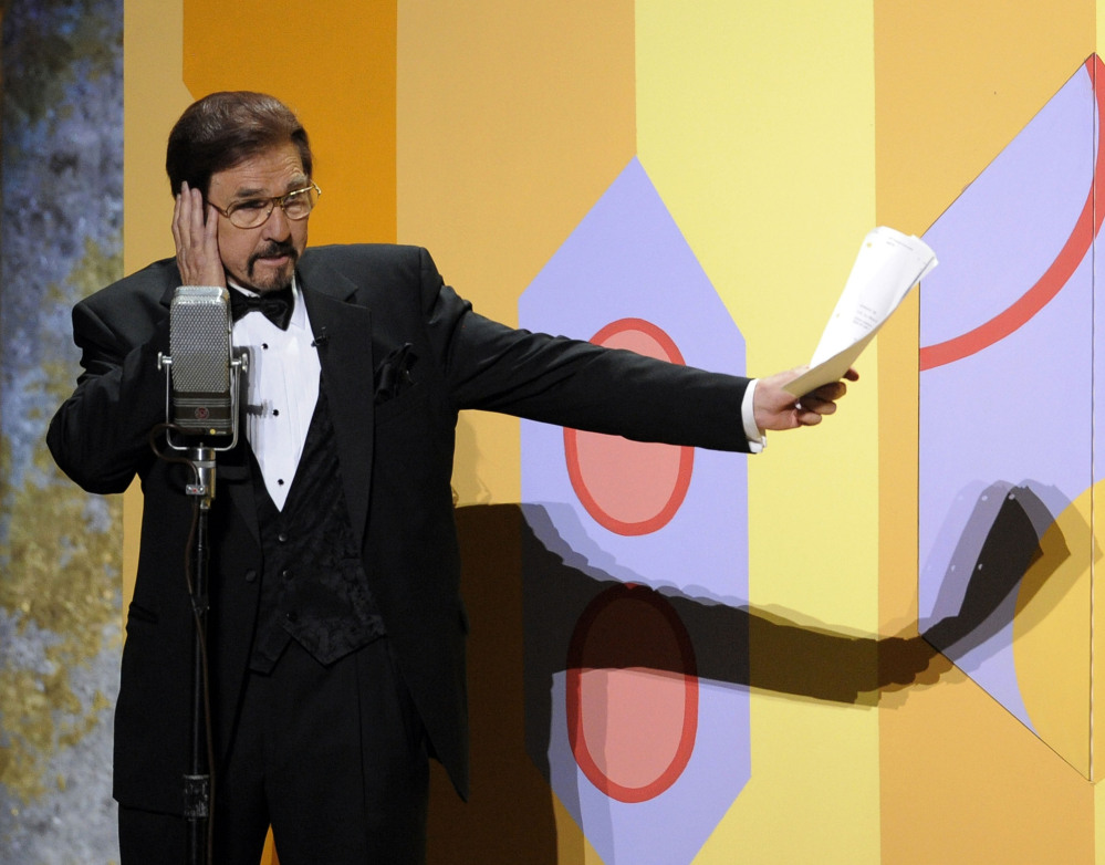"""Gary Owens performs in a skit at the 60th Primetime Emmy Awards in Los Angeles in 2008. Owens, best known for announcing """"Rowan & Martin's Laugh-In,"""" died Thursday."""