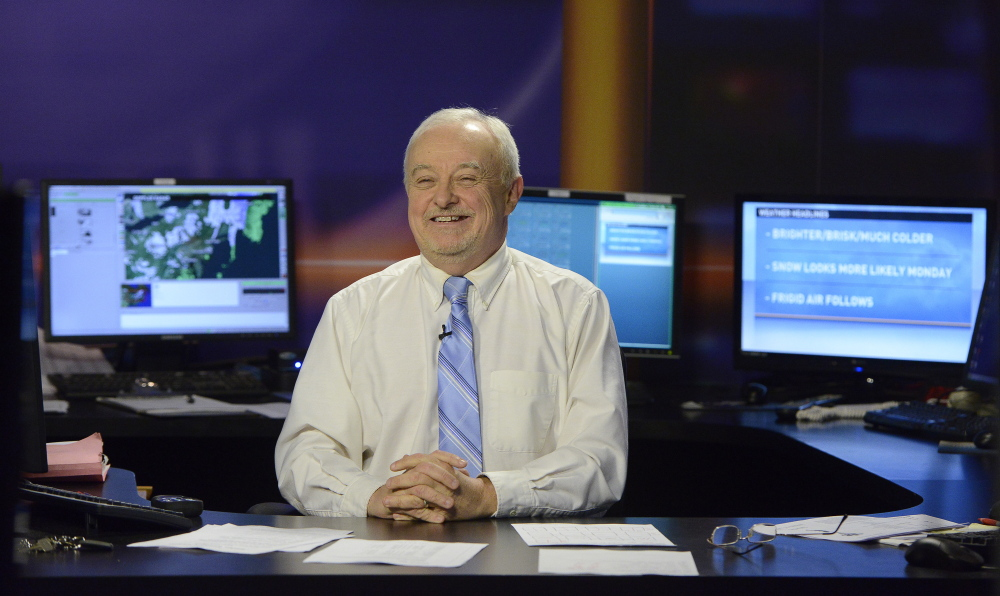 Kevin Mannix says most people know there are a lot of variables in predicting weather. He is shown in the WCSH studio, but without a telltale sweater that he wears when a storm approaches.