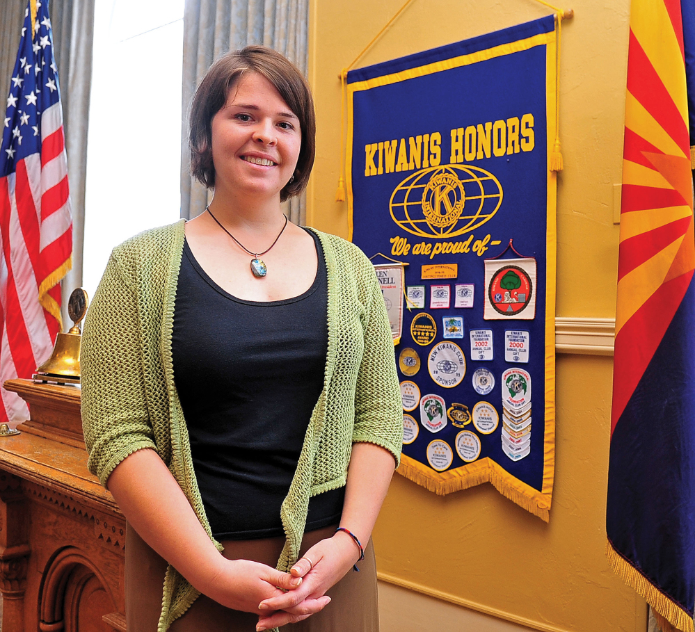 In this May 30, 2013, photo, Kayla Mueller is shown after speaking to a group in Prescott, Ariz.