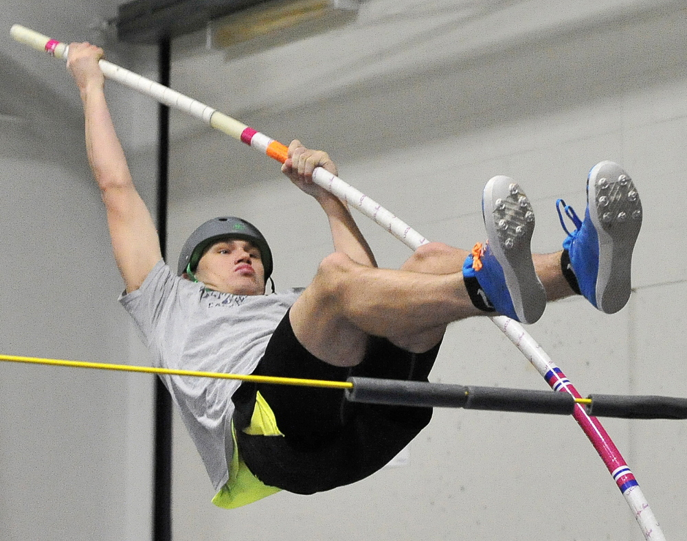 Scarborough sophomore Sam Rusak heads into the Class A state championship as the top seed in the pole vault. Rusak cleared 14 feet, 9 inches at the Greater Boston Track Club Invitational in January. He hopes to clear 15 feet on Monday.