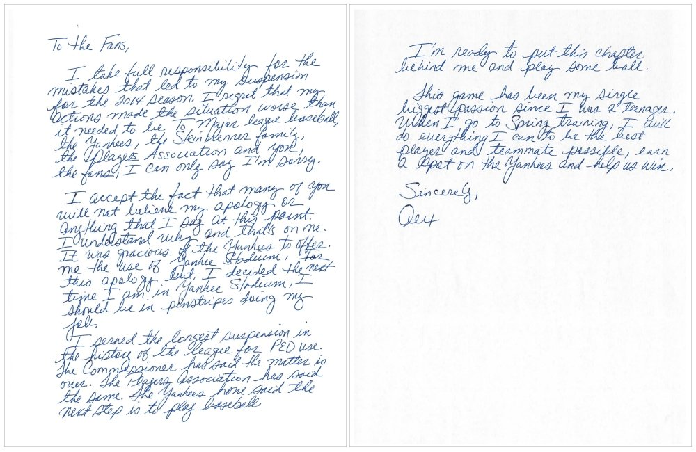 "This image issued by New York Yankees' Alex Rodriguez shows a two-page handwritten apology issued Tuesday, three days before the team opens spring training, addressed ""to the fans."""