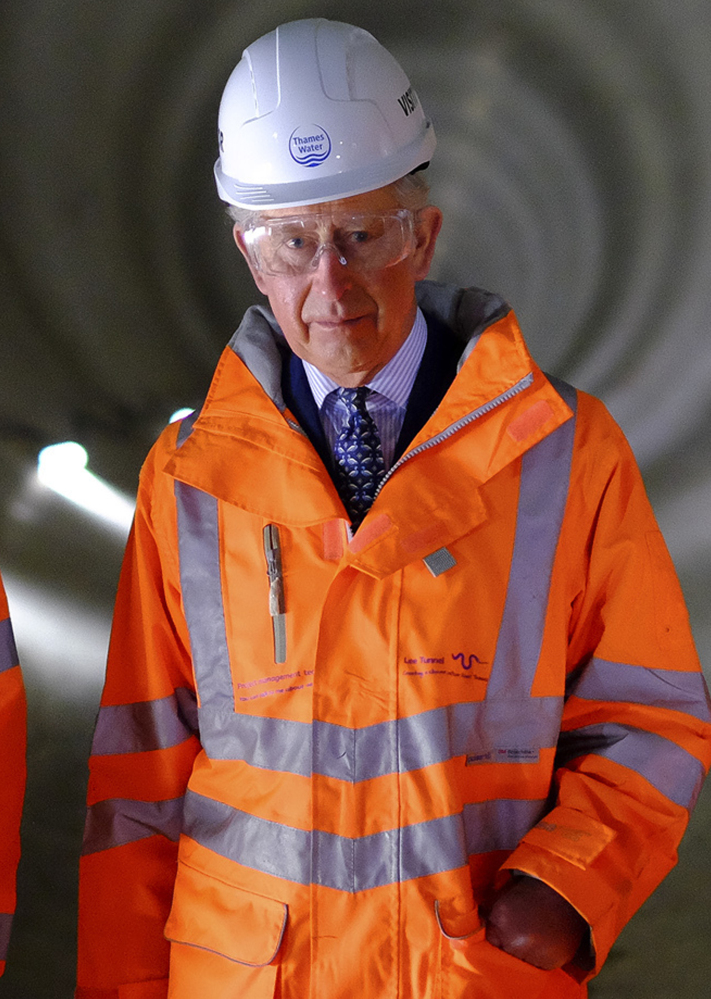 Prince Charles visits the Lee Tunnel, a sewer tunnel 250 feet below east London, on Wednesday.