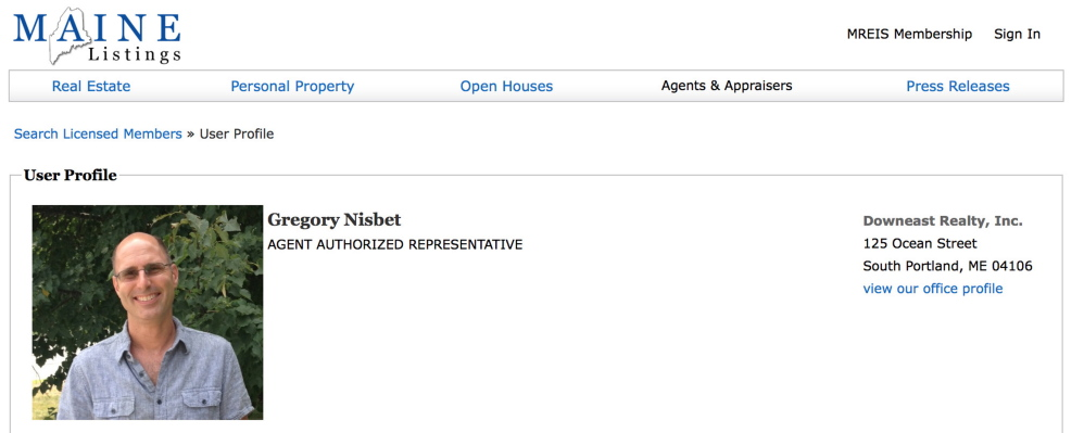 """The profile of real estate agent Gregory Nisbet on the Maine Listings website. His attorney says Nisbet was """"very distressed"""" after a fire killed six people at one of his buildings."""