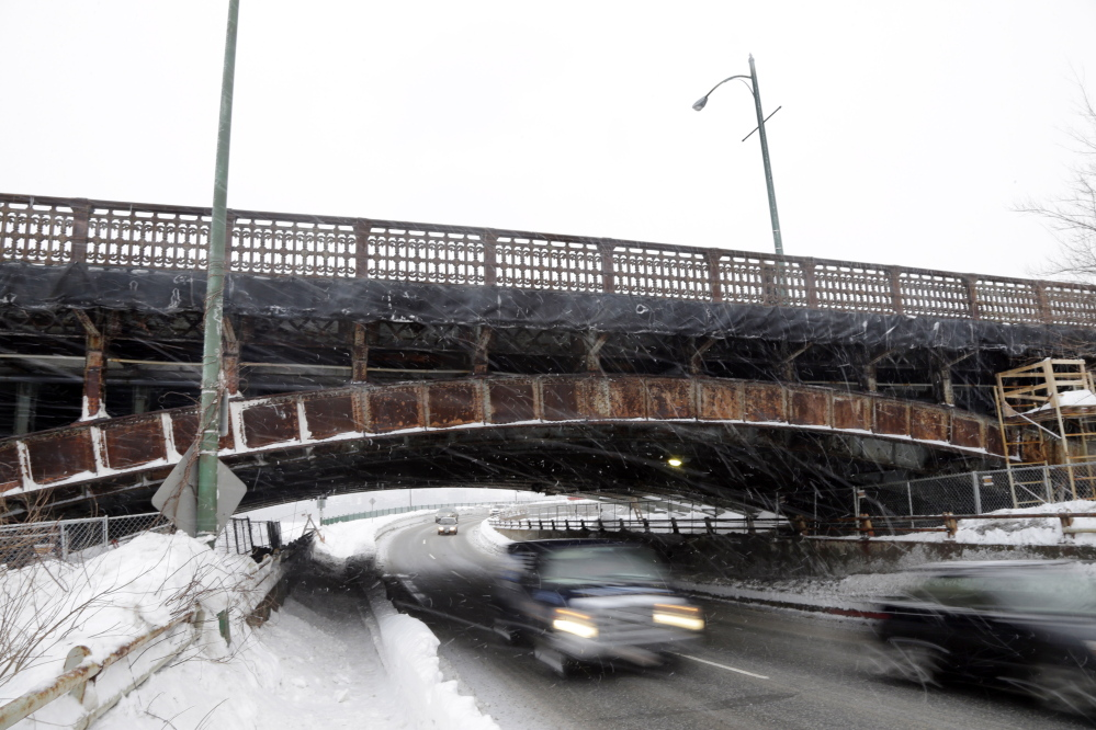 Crumbling Boston transportation infrastructure such as the Longfellow Bridge, which has been undergoing repair, is indicative of a significant drop in federal transportation funds.
