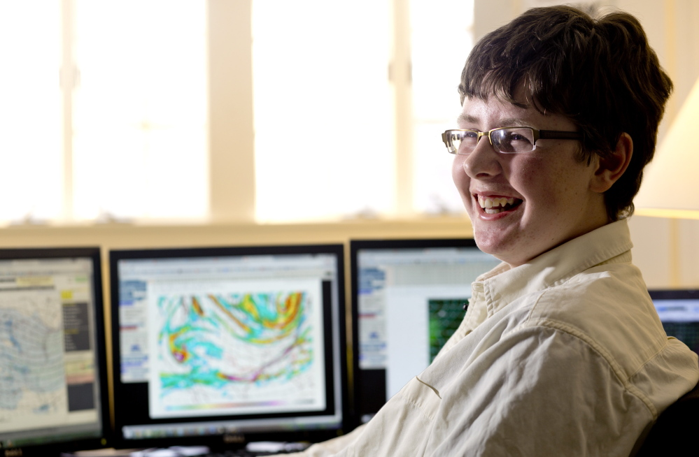 "Jack Sillin, 13, of Yarmouth says writing his daily weather blog  is ""a pretty solid routine."" He uses calm, factual and assertive language to summarize his weather predictions."