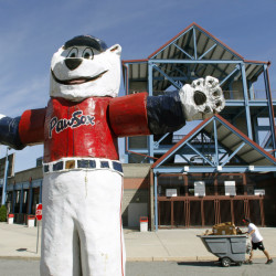 "A statue of the Pawtucket Red Sox mascot ""Paws"" stands outside McCoy Stadium in Pawtucket, R.I."