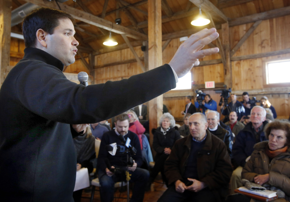 U.S. Sen. Marco Rubio of Florida, a potential 2016 Republican presidential candidate, speaks to residents of Hollis, N.H., on Monday.